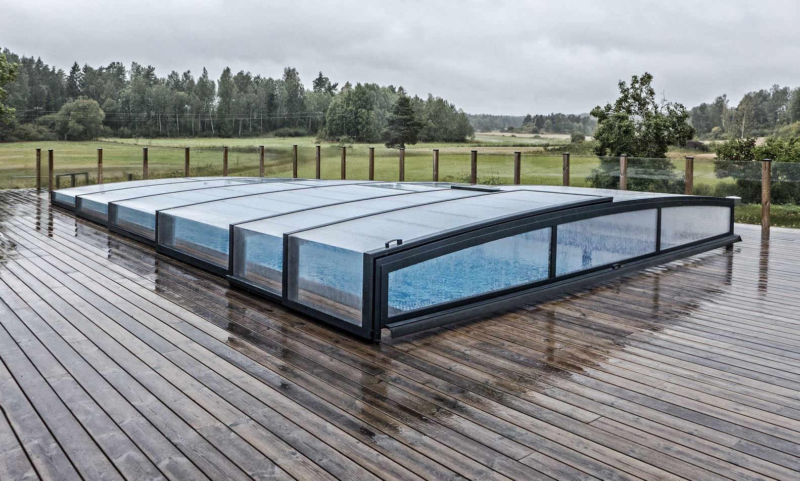 niedrige schöne Schwimmbad Überdachung